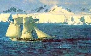 Картинка лед, море, небо, корабль, парусник, картина, север, Blossom Christopher, асберг