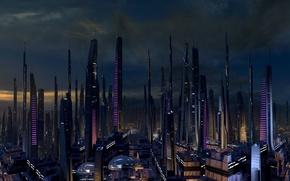 Картинка Ночь, Город, Будущее, Космос, Звёзды