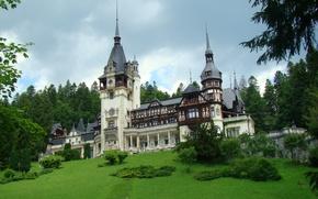 Картинка Румыния, замок Пелеш, природа, лето, Трансильвания, пейзаж, фото
