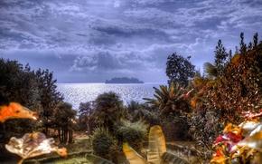 Картинка небо, облака, деревья, скала, озеро, остров, hdr, Италия