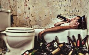 Картинка вана, пиво, мужчина, бутылки
