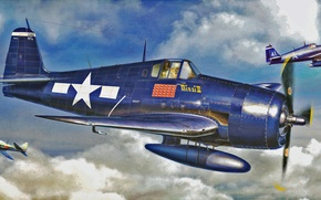 Картинка war, art, airplane, painting, ww2, F6F-3-5 Hellcat