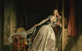Обои комната, поцелуй, Fragonard