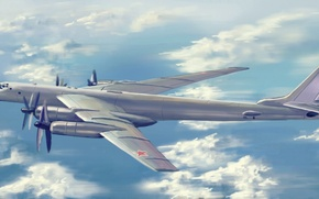 Картинка bomber, war, art, airplane, painting, aviation, Tupolev Tu-95 Bear