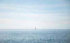 Картинка море, пейзаж, маяк, минимализм