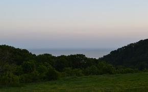 Картинка море, лето, небо, вечер, горизонт, поляна...........