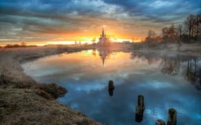 Картинка рассвет, село, утро, Апрель, Дунилово