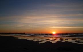 Картинка beach, sea, sun, Łeba, sunsed