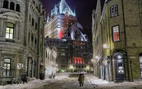 Обои зима, дома, Квебек, огни, улица, ночь, замок Фронтенак, Канада