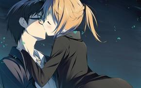 Картинка ночь, поцелуй, очки, сердечки, двое, art, mayo chiki, kinjieou sakamachi, subaru konoe, seiji kikuchi