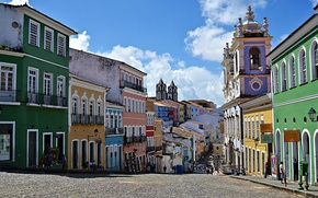 Обои небо, облака, люди, дома, церковь, Бразилия, Сальвадор, Баия, Pelourinho, барокко