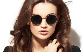 Картинка фон, волосы, Девушка, очки