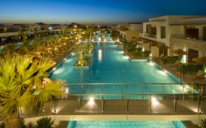 Картинка вечер, бассейн, курорт, Greece, ареал