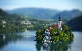 Картинка небо, облака, озеро, остров, церковь, Словения, Slovenia, Блед