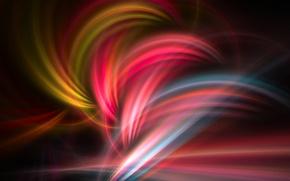 Картинка лучи, свет, линии, цвет, газ, фрактал