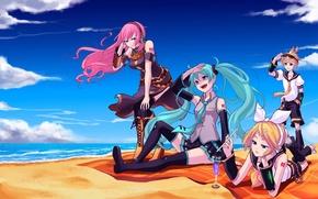 Картинка море, пляж, небо, облака, девушки, арт, коктейль, парень, vocaloid, hatsune miku, megurine luka, kagamine rin, …