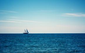Картинка небо, океан, парусник, boat on the blue ocean