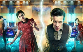 Картинка Лондон, мотоцикл, Doctor Who, Доктор Кто, Мэтт Смит, Matt Smith, Jenna-Louise Coleman, Дженна-Луиза Коулман