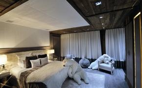 Картинка дизайн, интерьер, медведи, спальня