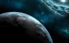 Обои солнце, спутник, звезды, Планета