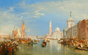 Картинка море, дома, картина, лодки, Venice, городской пейзаж, Уильям Тёрнер, Dogano and Santa Maria della Salute