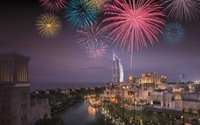 Картинка Dubai, Night, Fireworks, Jumeirah