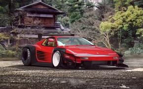 Картинка Classic, Future, Red, Ferrari, by Khyzyl Saleem, Supercar, Tuning, 512