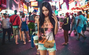 Обои New York, Female, Times Square, Beauty, Young, Model, Beautiful, Summer, Girl, Glamour, Fashion, Light, Sexy, ...