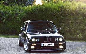 Картинка чёрный, бмв, BMW, black, кусты, Coupe, E30, 3 Series