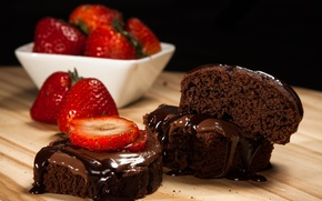 Картинка еда, шоколад, клубника, фрукты, крем, food, fruit, сладкое, chocolate, sweet, strawberry, cream