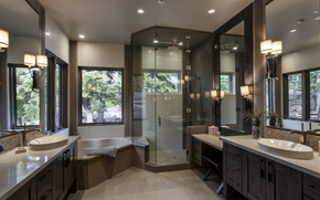 Картинка дизайн, лампы, интерьер, зеркало, окно, ванная