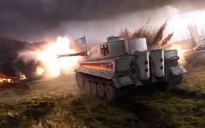 Обои Небо, Тигр, WoT, Туман, Мир Танков, Пламя, Свет, Облака, World of Tanks, Камуфляж, Взрыв, Tiger ...