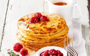 Картинка малина, чай, мед, honey, блины, выпечка, варенье, Raspberry, jam, блинчики, tea, Pancake