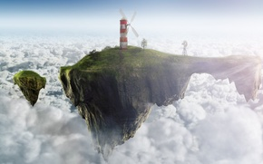 Обои ветродуй, Feel good inc., свобода, безмятежность, маяк, облака, небо, острова, мечта