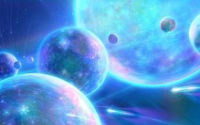 Картинка космос, круги, планеты, метеор, арт, спутники, antifan-real