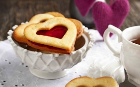 Обои holiday, праздник, food, десерт, dessert, чая, сладкое, сердце, печенье, biscuits, cookies, love, cup, чашка, любовь, ...
