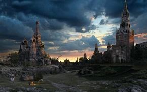 Обои небо, москва, вечер, кремль, руины, россия, собор василия блаженного