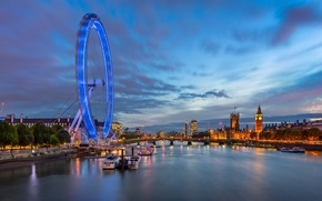 Картинка город, река, Лондон, здания, Темза, колесо обозрения