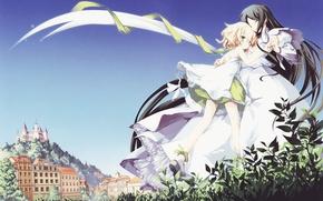 Картинка небо, трава, природа, город, замок, девушки, дома, аниме, арт, source request