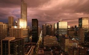 Картинка здания, небоскребы, вечер, америка, чикаго, сша, chicago