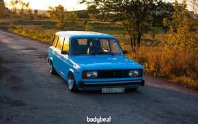 Обои Тюнинг, Россия, голубая, универсал, Жигули, bodybeat, четвёрка, Rus, ВАЗ-2104