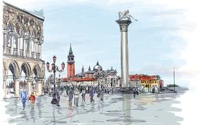 Картинка город, люди, здания, лев, арт, статуя, колонна, гуляют