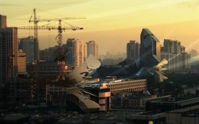 Обои кран, Москва, Здания