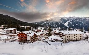 Картинка зима, снег, горы, город, здания, дома, Альпы, Италия, домики, Italia, Alpi