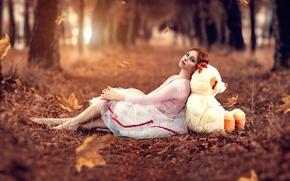 Картинка осень, листья, девушка, мишка, Alessandro Di Cicco, Magical feeling