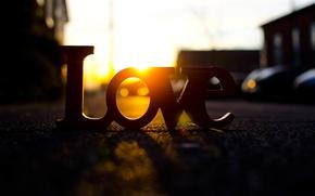 Картинка дорога, солнце, лучи, любовь, закат, буквы, фон, обои, улица, настроения, love, широкоформатные, полноэкранные, HD wallpapers, …
