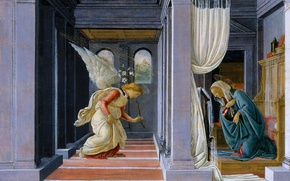 Картинка картина, мифология, Сандро Боттичелли, Благовещение