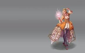 Картинка девушка, огонь, магия, арт, fantasy, wonmi choi