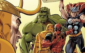 Картинка красный, Халк, Hulk, Железный человек, Deadpool, Дэдпул, Iron man, comics, Thor, Тор, MARVEL, Локи, Loki, …