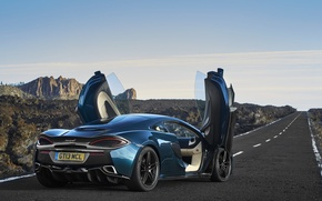 Картинка дорога, авто, вверх, McLaren, двери, суперкар, открытые, 570GT
